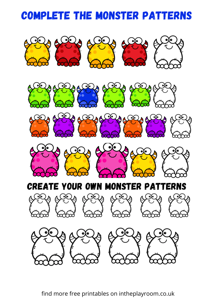 complete the monster patterns coloring page