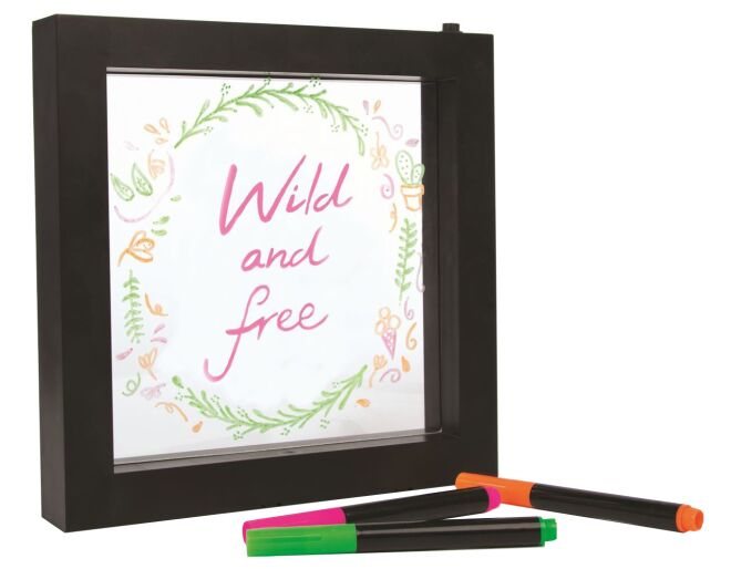 neon message frame wild and free