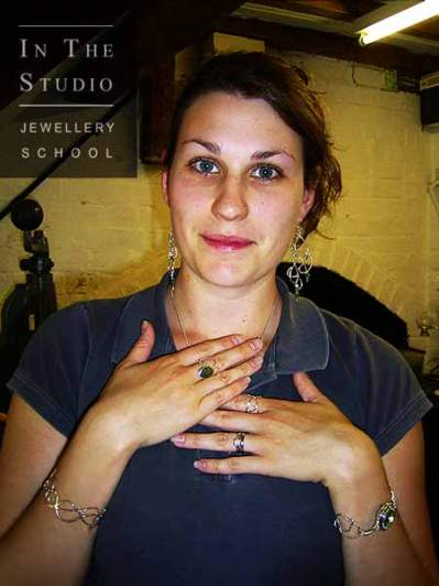 A female student modelling her silver jewellery set