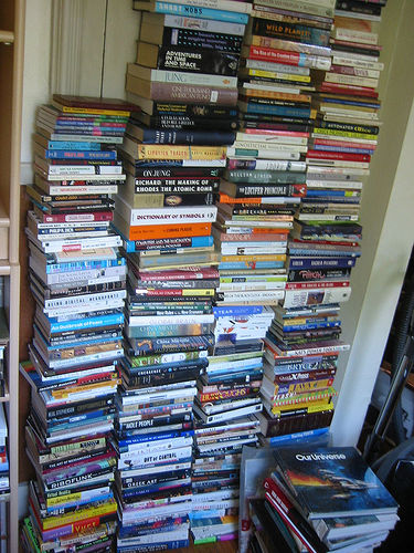 photo of books without a shelf by nofi on flickr