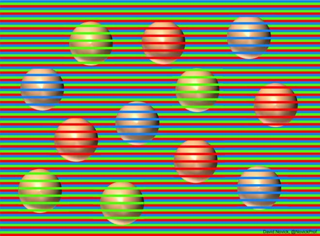 Brown balls with colored stripes overlaid