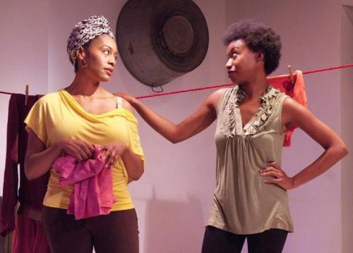 """Maya Lynne Robinson (right) as Nia, Simone Missick (left) as Shun, in """"In the Red and Brown Water"""" at the Fountain Theatre"""