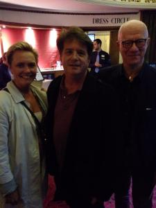 Stephen Sachs with Peter Flack and Marie Kühler Flack at the Duchess Theatre, London.