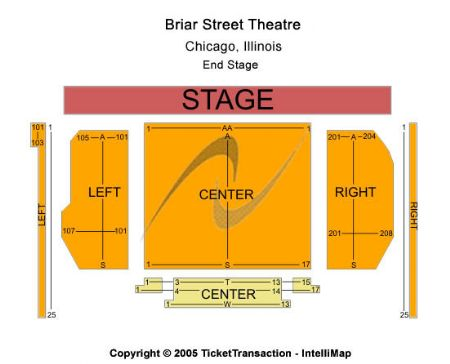 Venue Map End Stage Capacity N A Briar Street Theatre Tickets