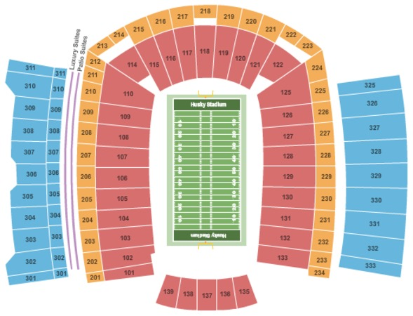 Map University Washington Stadium Seating