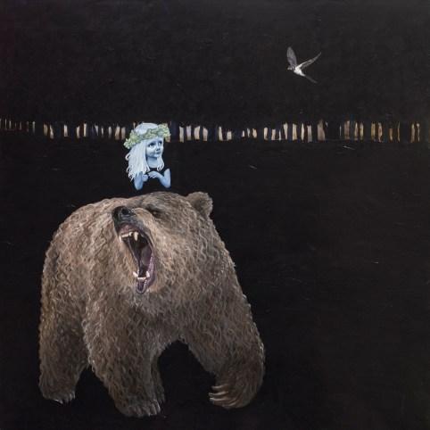 Hvis en bjørn brøler om natten, man man så høre det 150 x 150 cm