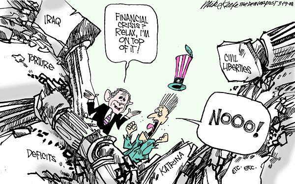 Bush and financial crisis, cartoon