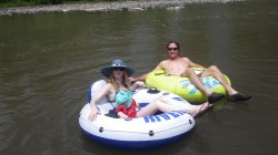 Kelly, Loren and Mav chilling on the river. Pagosa springs CO