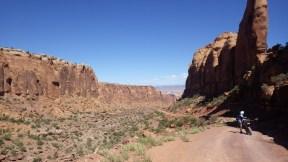 Gautam descending Long Canyon, Moab Utah.