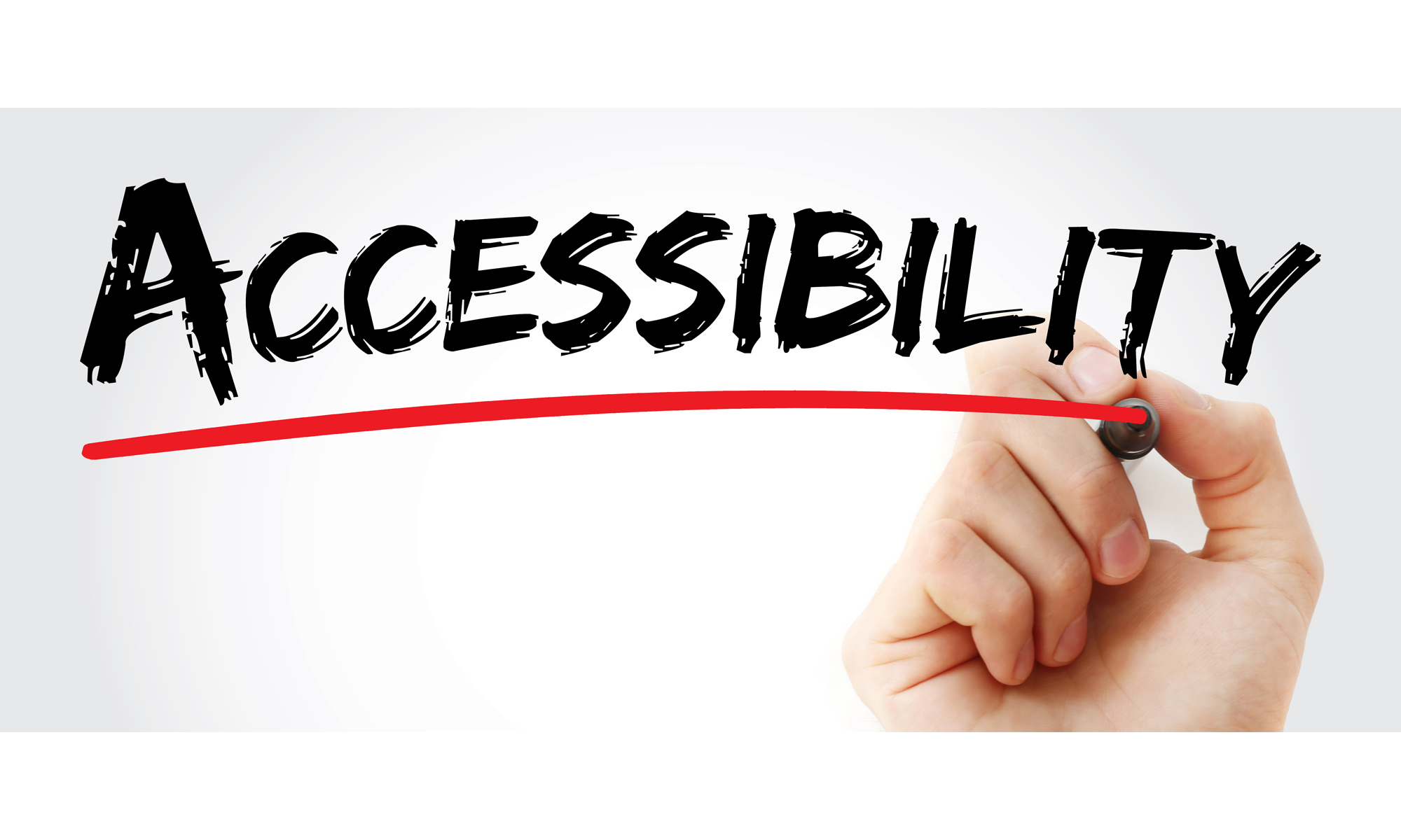 "A hand is underlining the word ""Accessibility"" on a whiteboard, representing the importance of accessible business cards."