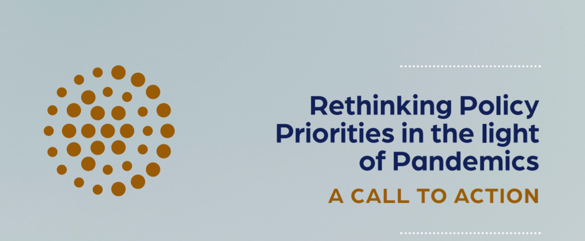 Screenshot of the cover of the Rethinking Policy Priorities in the light of pandemics report.