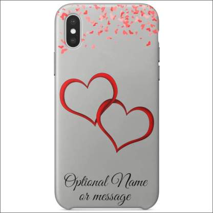iPhone XS Case | Valentine Hearts D1 (Optional Name/Message)