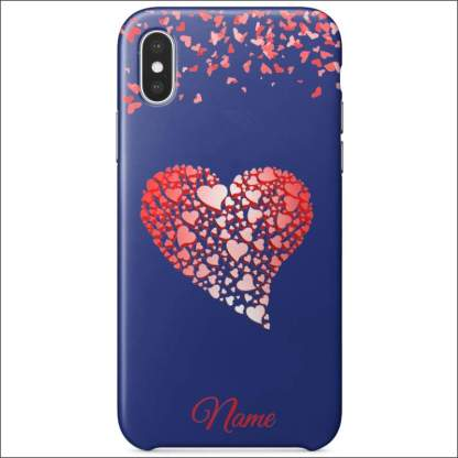 iPhone XS Case | Valentine Hearts D4 (Optional Name/Message)