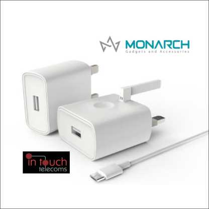 Monarch Gadgets Fast 5V 2A USB Home Charger with 1m Lightning Cable