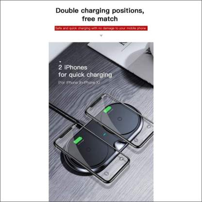 QI 10W Dual Fast Wireless Charger | Charging Pad Dock Station