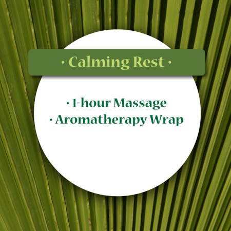 Calming Rest, 1 hour massage, aromatherapy wrap