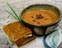 Dancing Lion Chocolate | grilled cheese with house made foccacia with leek, tomato & chocolate soup