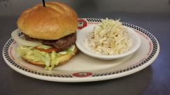 Red Arrow Diner | Arrow Burger - topped with sauteed onions, peppers, cheese, lettuce, tomatoes and BBQ sauce
