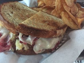 "Bada Bing | Reuben ""Try one on wheat, white or marbled rye - served with a side of our own delicious chips!"""