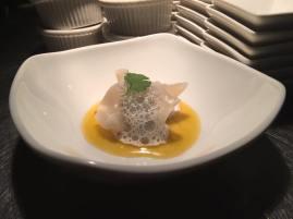 Gale Motor Co | Shrimp dumpling with ginger foam and orange sauce