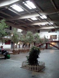 Some artists live in spaces around this Interior courtyard.