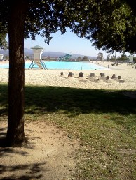 Halloween graves on the beach. Swim lake capacity is 2,800 people.