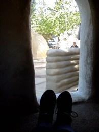 Me sitting inside the little sleeping room.