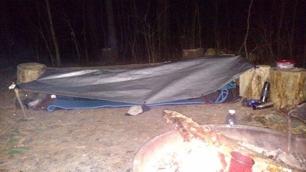 rudimentary tarp shelter