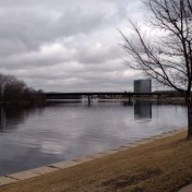 The Mississippi River from the Great River Trail near downtown Moline