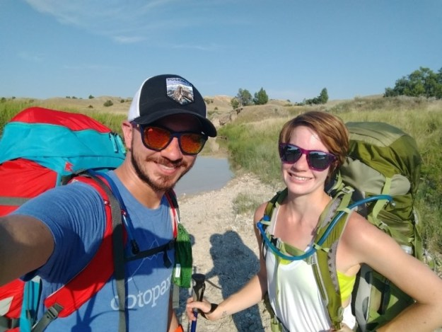 Backpacking into the back country in the Badlands.