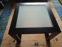 Couchtisch Holz schwarz m. Glasplatte Wohnzimmer Beistell