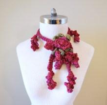 floral vine knit scarf pinkrose3