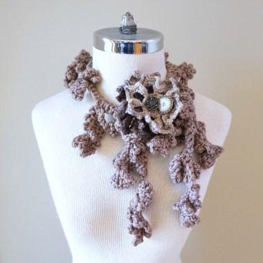 floral vines brown ivory scarf