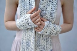 elegant lace long hand warmers ivory purple