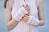 elegant lace long scarf ooak ivory pink4