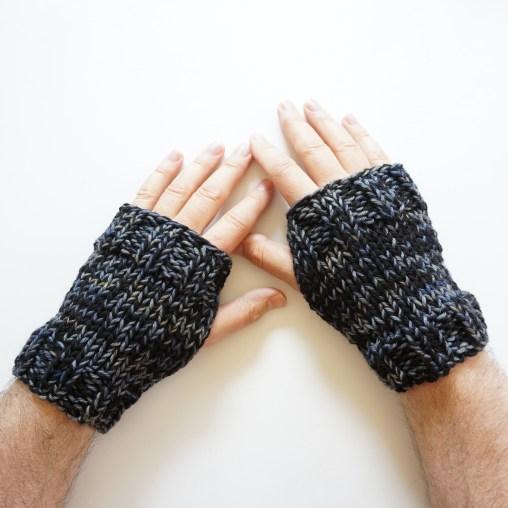 men's hand warmers black gray