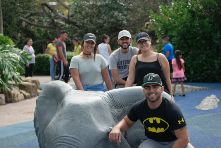 Family time with the concrete elephant!