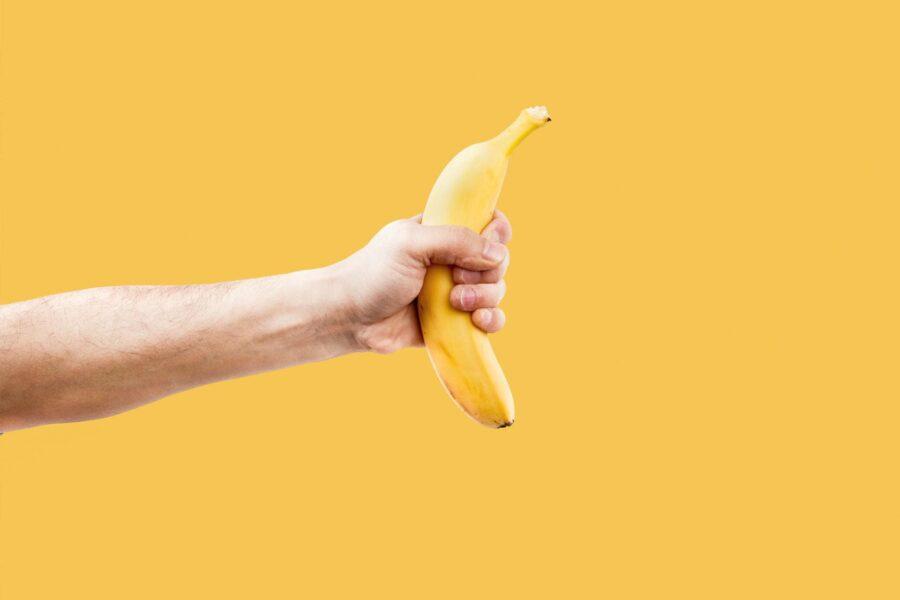 His banana in hand