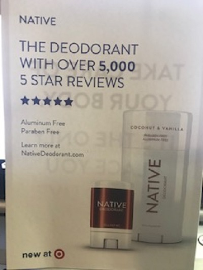 Extra Native deodorant info card