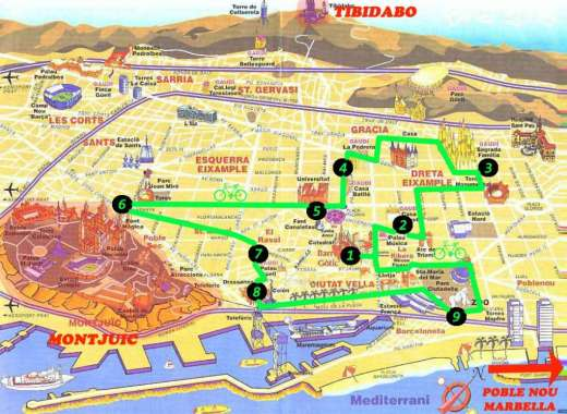 Barcellona in bici - mappa bike tour