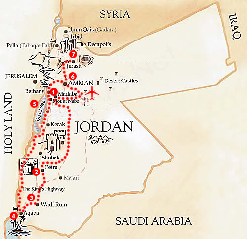 tour giordania mappa