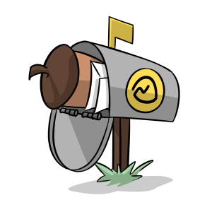 Illustration of a mailbox with the Basecamp logo with an Intro CRM acorn and envelopes inside.