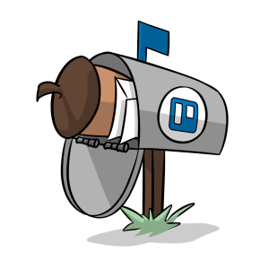 Illustration of a mailbox with the Trello logo with an Intro CRM acorn and envelopes inside.