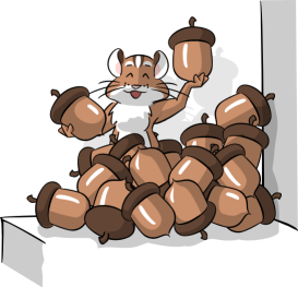 Illustration of a chipmunk sitting in a pile of acorns on a ledge.