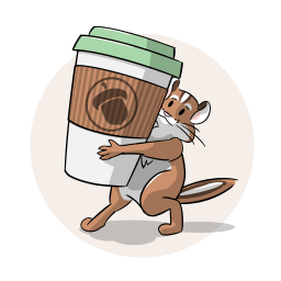 Illustration of a chipmunk carrying a cup of coffee.
