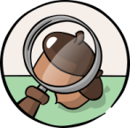 Illustration of a magnifying glass on an acorn.