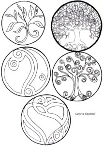tree of life, swirls of life, leaves of life, yin and yang of life, heart of life, celtic