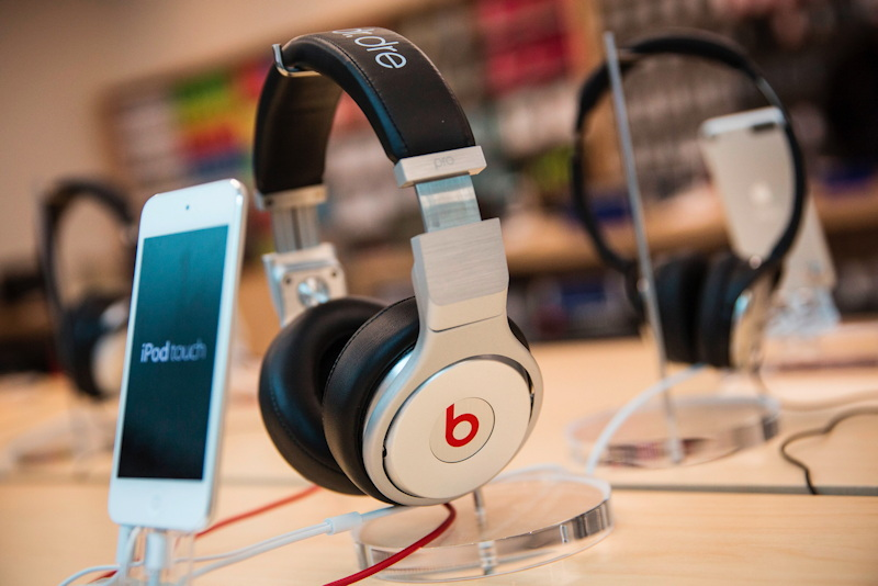 Beats headphones at an Apple Store.