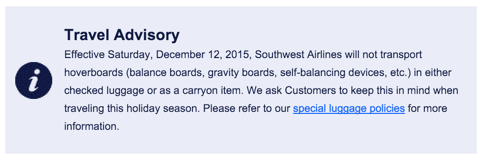 no hoverboards on southwest airlines plane flights