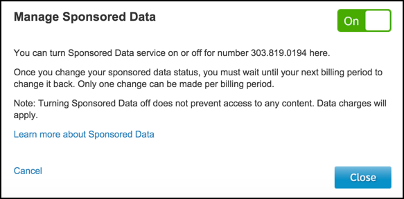 disable turn off opt out sponsored data att wireless